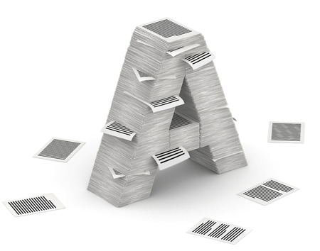 commercialese: 3D isometric letter A, maked from stacks of paper pages font