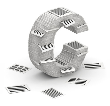 3D isometric letter C, maked from stacks of paper pages font Stock Photo