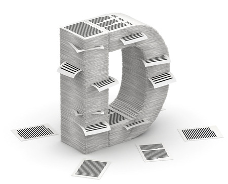 commercialese: 3D isometric letter D, maked from stacks of paper pages font