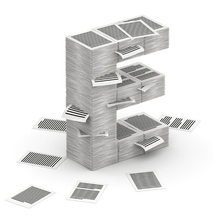 bureaucratism: 3D isometric letter E, maked from stacks of paper pages font