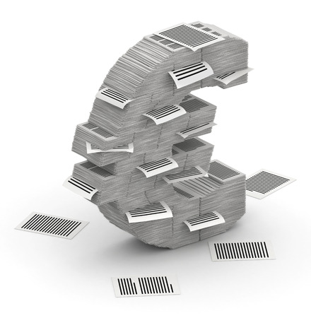 bureaucratism: 3D isometric euro sign , makes from stacks of paper pages font
