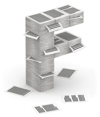 commercialese: 3D isometric letter F, maked from stacks of paper pages font