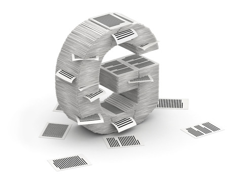 commercialese: 3D isometric letter G, maked from stacks of paper pages font