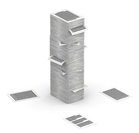 commercialese: 3D isometric letter I, maked from stacks of paper pages font Stock Photo