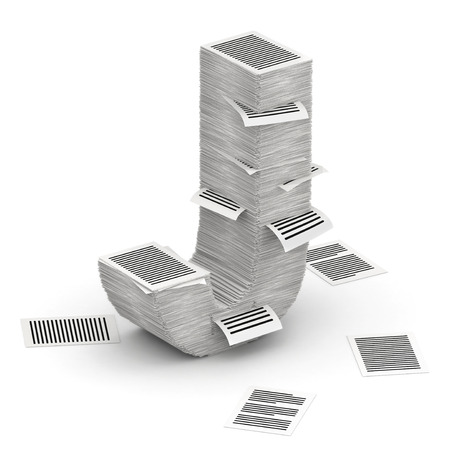 commercialese: 3D isometric letter J, maked from stacks of paper pages font