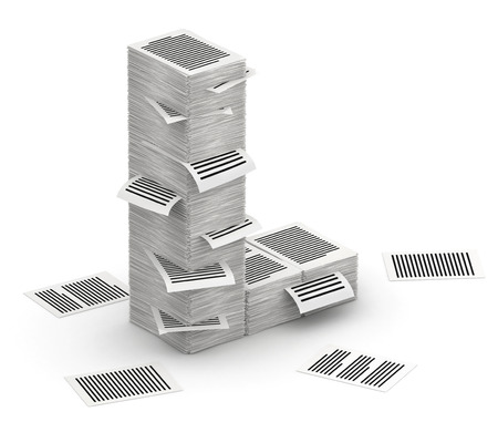 commercialese: 3D isometric letter L, maked from stacks of paper pages font