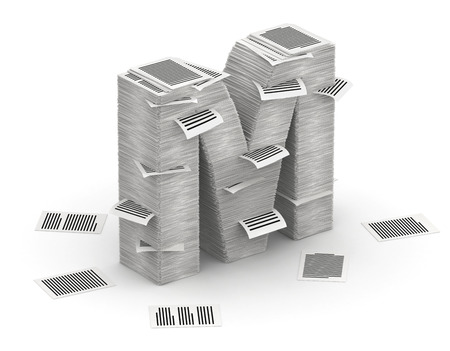 bureaucratism: 3D isometric letter M, maked from stacks of paper pages font Stock Photo