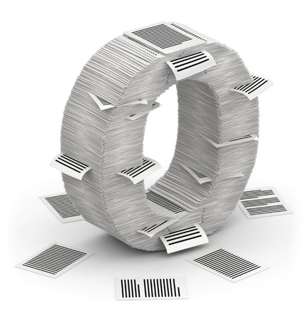 commercialese: 3D isometric letter O, maked from stacks of paper pages font