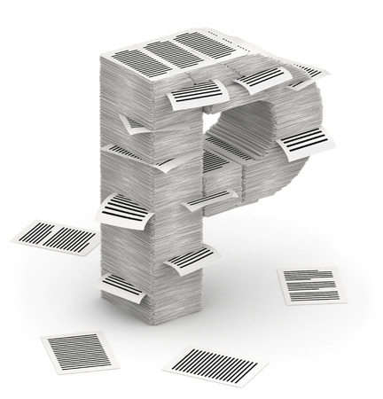 cryptogram: 3D isometric letter P, maked from stacks of paper pages font Stock Photo