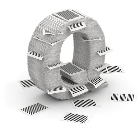 bureaucratism: 3D isometric letter Q, maked from stacks of paper pages font Stock Photo