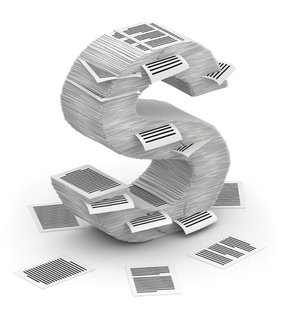 commercialese: 3D isometric letter S, maked from stacks of paper pages font
