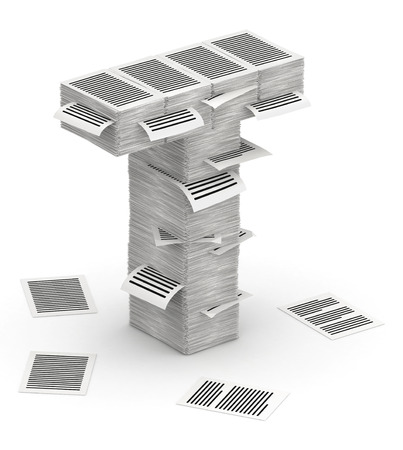 bureaucratism: 3D isometric letter T, maked from stacks of paper pages font