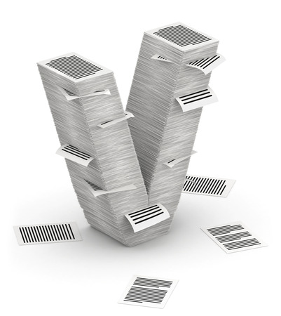 bureaucratism: 3D isometric letter V, maked from stacks of paper pages font Stock Photo
