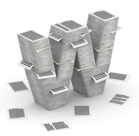 3D isometric letter W, maked from stacks of paper pages font Stock Photo