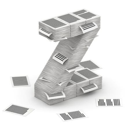 commercialese: 3D isometric letter Z, maked from stacks of paper pages font