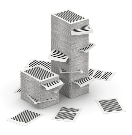 bureaucratism: Several stacks of paper pages on white background Stock Photo