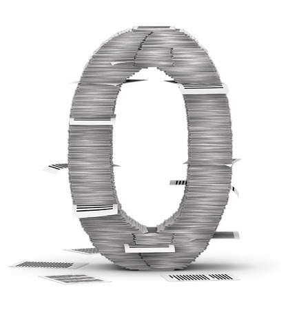 commercialese: Number 0, from stacks of paper pages font