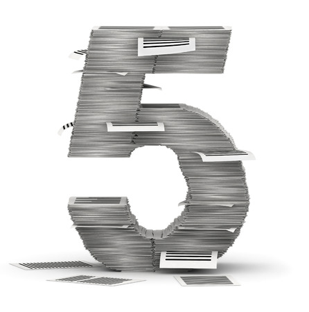 commercialese: Number 5, from stacks of paper pages font Stock Photo