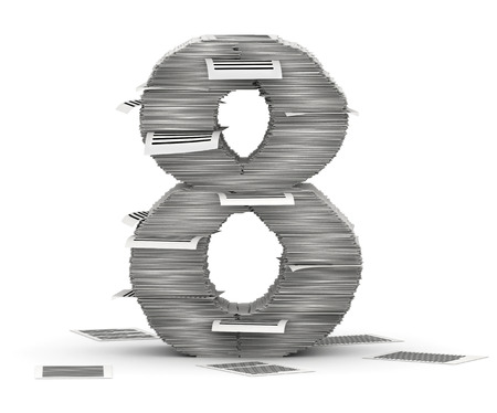 commercialese: Number 8, from stacks of paper pages font Stock Photo