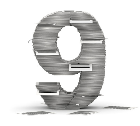 bureaucratism: Number 9, from stacks of paper pages font