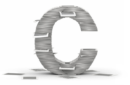 cryptogram: Letter C, from stacks of paper pages font