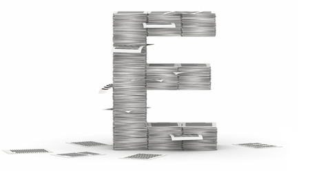 bureaucratism: Letter E, from stacks of paper pages font