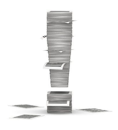 commercialese: Exclamation mark, from stacks of paper pages font Stock Photo