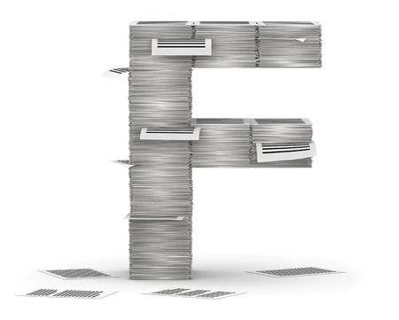 bureaucratism: Letter F, from stacks of paper pages font