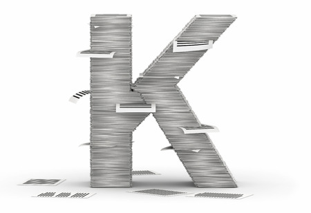 cryptogram: Letter K, from stacks of paper pages font