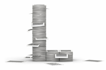 Letter L, from stacks of paper pages font