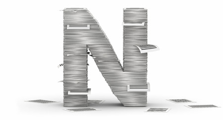 Letter N, from stacks of paper pages font Stock Photo