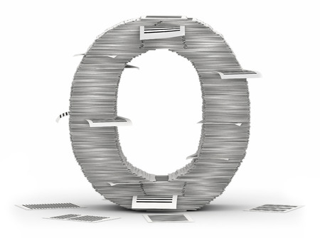 Letter O, from stacks of paper pages font Stock Photo