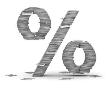 Percent, from stacks of paper pages font