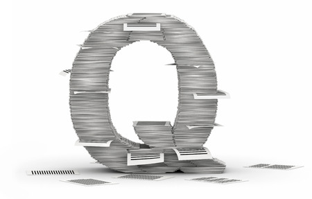 Letter Q, from stacks of paper pages font