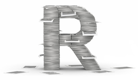 commercialese: Letter R, from stacks of paper pages font Stock Photo