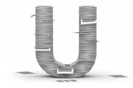 bureaucratism: Letter U, from stacks of paper pages font