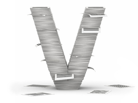 Letter V, from stacks of paper pages font