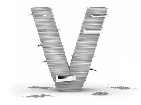 bureaucratism: Letter V, from stacks of paper pages font
