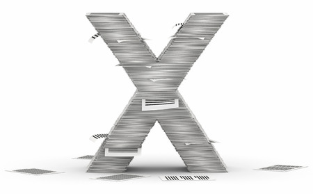 bureaucratism: Letter X, from stacks of paper pages font