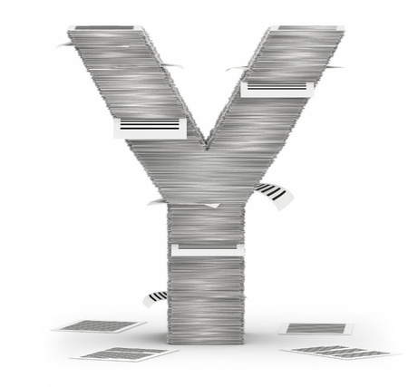 cryptogram: Letter Y, from stacks of paper pages font