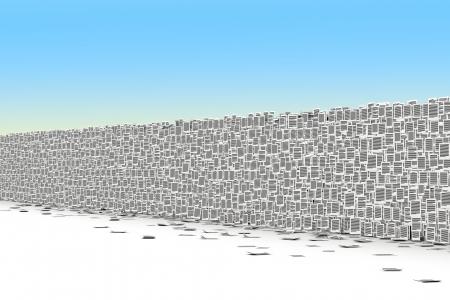 burocracia: Big parede de p�gina de papel, barreiras burocracia conceito