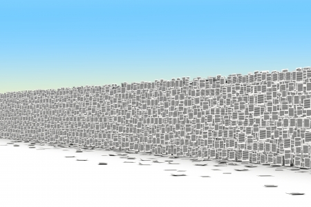bureaucratism: Big wall from paper page, bureaucracy barriers concept Stock Photo