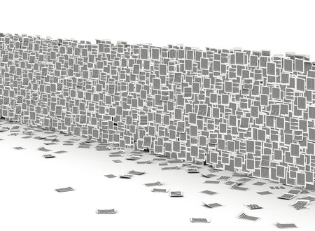 Big wall from paper page, bureaucracy barriers concept Stock Photo