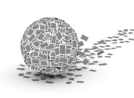 Huge ball from paper pages with trail,  paperwork concept Stock Photo