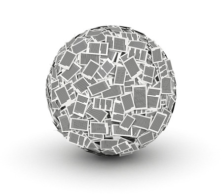 Huge ball from paper pages on white background paperwork concept Stock Photo