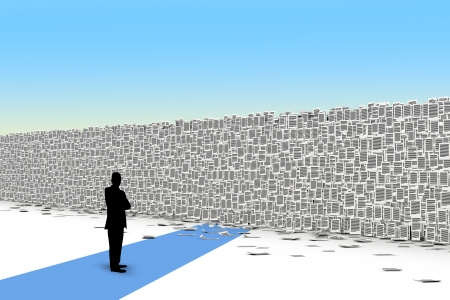 bureaucratism: Way closed by wall from paper page, bureaucracy barriers concept