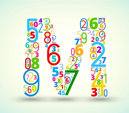 typography vector: Letter M,  from rainbow colored numbers typography vector font
