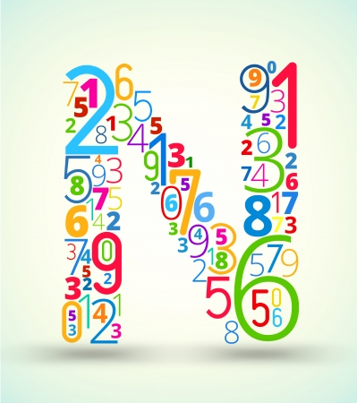 cryptogram: Letter N,  from rainbow colored numbers typography vector font Illustration