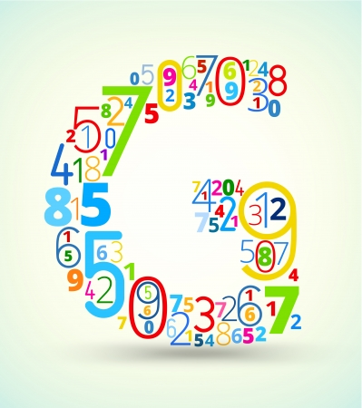 cryptic: Letter G,  from rainbow colored numbers typography vector font
