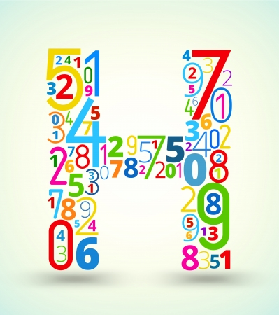 cryptography: Letter H,  from rainbow colored numbers typography vector font Illustration